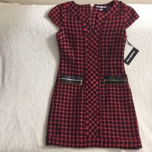 Karl Lagerfeld Plaid-Tweed Cap Sleeve Shift Dress